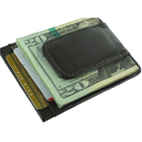 910ABN Brown Leather Hand Crafted Mans Man's Mens Men's Wallet Credit Card Holder Storage w Megnetic Money Clip