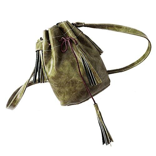 JD Million shop 2017 Women bag Tassel bucket bag pu leather patchwork women shoulder bag messenger bag women (Patchwork Tassel)