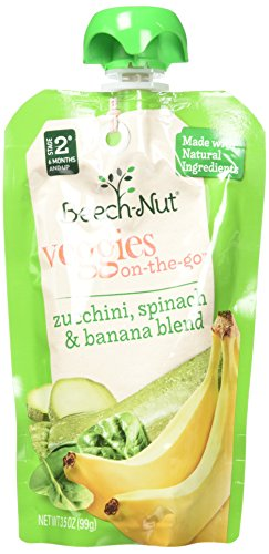 Beech-Nut Veggies On-the-Go, Baby Food, Stage 2, Zucchini, Spinach & Banana, 3.5 Ounce Pouch (Pack of (Baby Spinach)