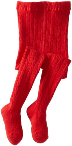 Jefferies Socks Little Girls'  Cable Tight, Red, 6-8 Years