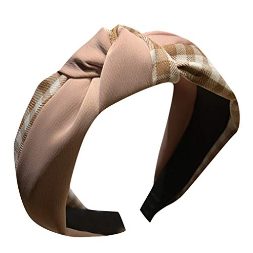 Women's Headband Hair Head Hoop Plaid Bow Cross Tie Hairbands Sweet Girls Hair Accessories (Pink)