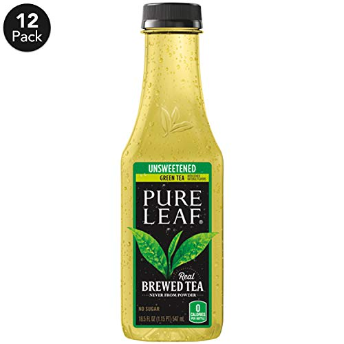 (Pure Leaf, Iced Tea, 0 Calorie Unsweetened Green Tea, Real Brewed Tea, 18.5 fl oz. bottles  (12 Pack))