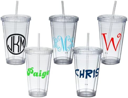 bridesmaid cups Personalized cups initials cup, Monogram tumblers with straws