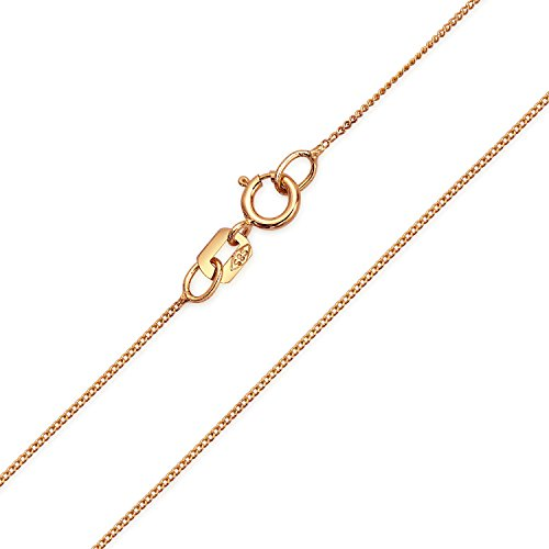Bling Jewelry 14K Rose Gold Thin Italian Curb Chain 018 Gauge 22in