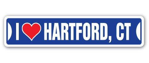 I Love Hartford, Connecticut Street Sign ct City State us Wall Road décor Gift (Wall Plaque Hartford)