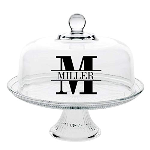 (Personalized Glass Cake Stand - Personalized Cake Stand - Cake Dome - Personalized Cake Stand with Dome - Gift for Baker - Bridal Shower Gift - Wedding Gift - Custom Cake Stand - Dessert Stand)