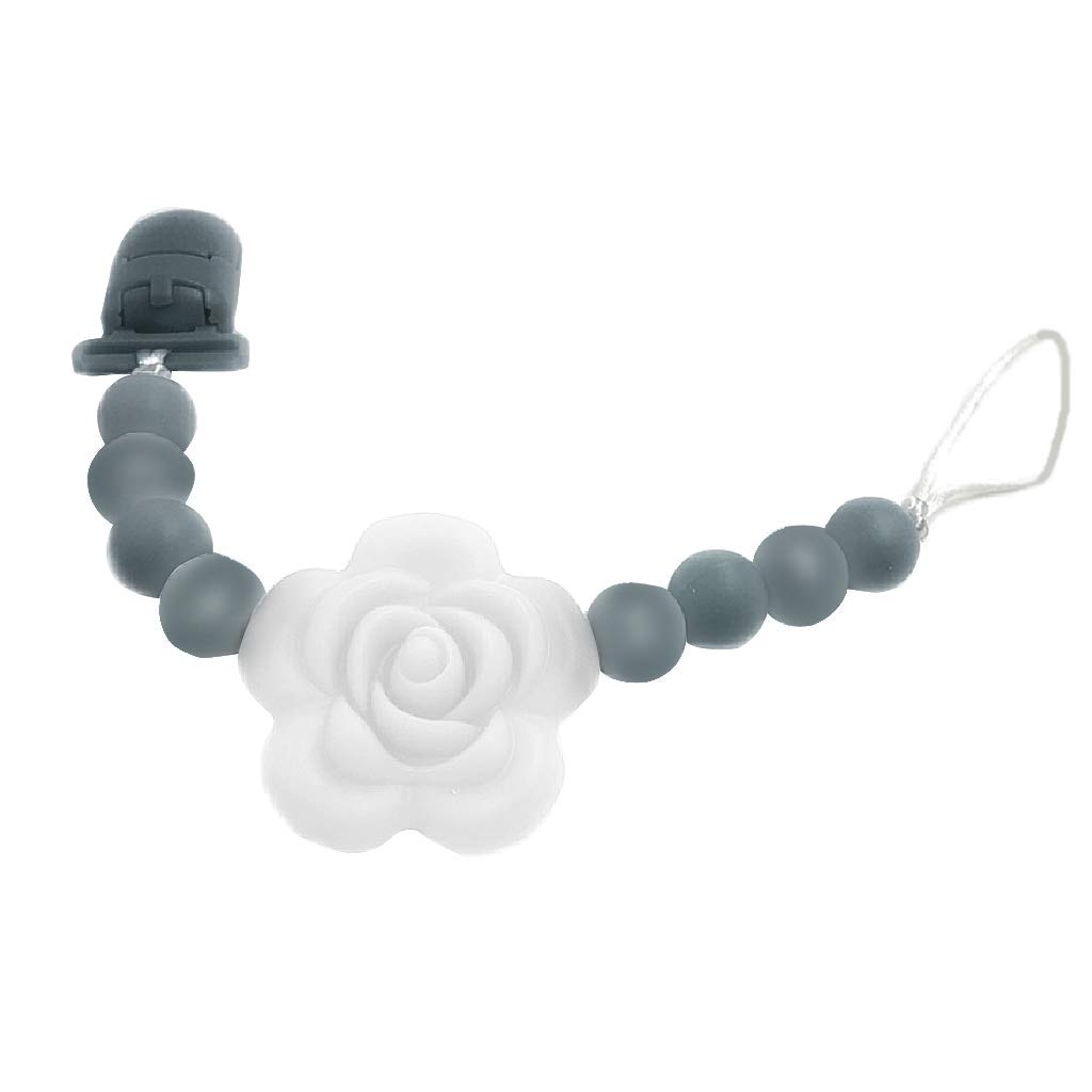 Seaskyer Teething Pain Relief Toy and Universal Pacifier Clip for Stylish Little Girls Best Unique Gift for Baby Shower Soft Silicone Bead Baby Molar Toy Hot Pink