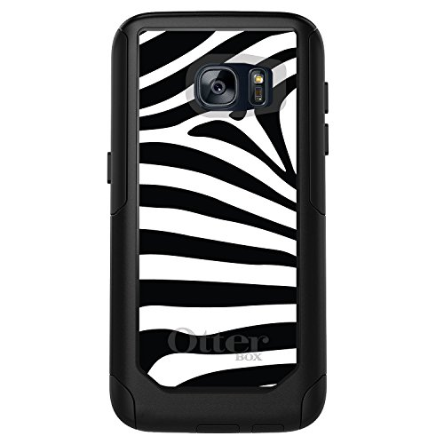 DistinctInk Case for Galaxy S7 - Custom Black OtterBox Commuter - Black White Zebra Skin Stripes