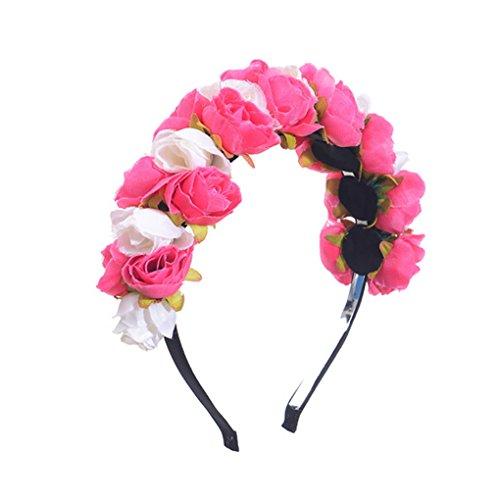 Rose Couronne Bandeau Plage Floral Tête Serre Fleurs Acmede De Vacances Mariage Cheveux P4PgXx