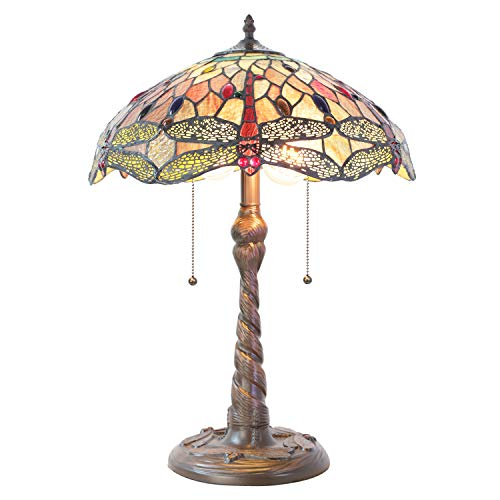 Lucidce Tiffany Table Lamp Switch Dragonfly Style2 Lights with Pull Chain Stained Glass Desk Reading Light Shade for Living Room Bedroom Bookcase Dresser Coffee