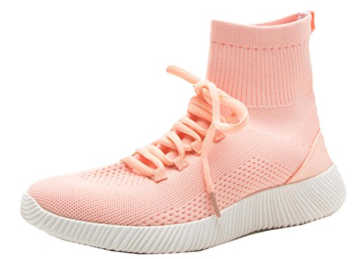 Qupid Femmes Tricot Maille Mode Chaussette Sneaker Blush
