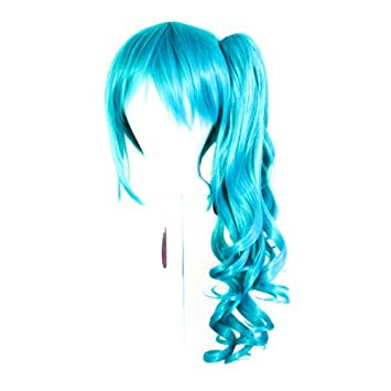 Base Seafoam Green Blue Cosplay Wig NEW 23/'/' Curly Pony Tail