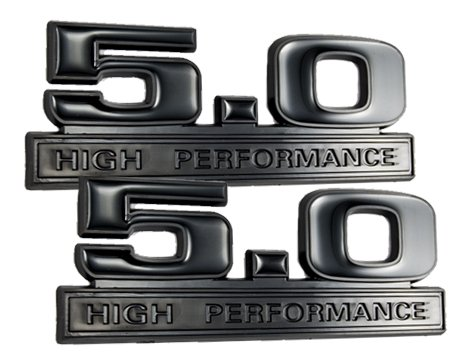 Two-Tone Black 5.0 High Performance Emblems - Pair (2018 Ford F150 Grill Emblem)