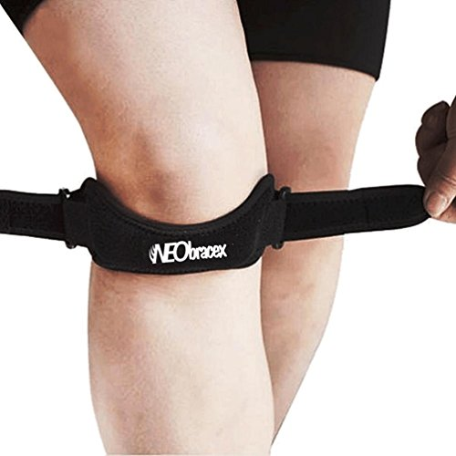 NEObracex Patella Tendon Strap Knee Pain Relief & Patella Stabilizer for Jumpers Knee, Running, Tennis, Osgood Schlatter, Tendonitis, Fully Adjustable Knee Brace