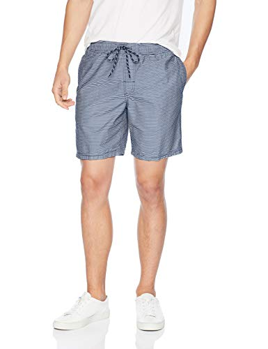 Amazon Essentials Men's Stripe Drawstring Walk Short, Navy Stripe, Small ()