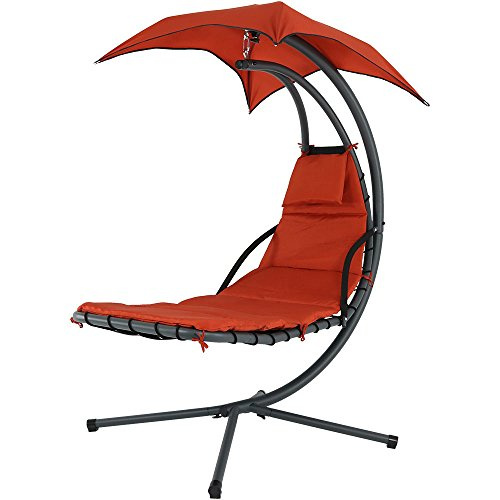 Sunnydaze Burnt Orange Floating Chaise Lounger Swing Chair with Canopy Umbrella, 43 Inch Wide x 80 Inch Tall