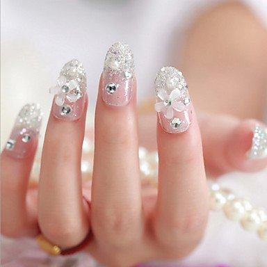hjlhyl 24pcs la novia uñas postizas Patch de Carino del panel Finito Arte del Clavo Clavo