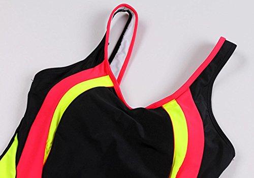 HZZ Para mujer del traje de baño de una pieza del traje de baño de Sports Shorty traje de natación Black