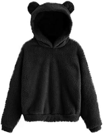 Women Oversized Hoodies Sweatshirt Tie Dye Cute Cat Ear Pullover Tops Soft Winter Warm Coat Faux Fur Hooded Coats S-5XL