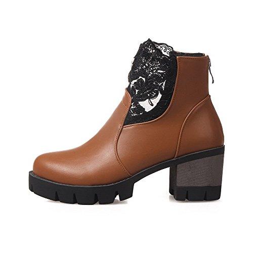 Kitten Toe Women's PU Boots Assorted AgooLar Yellow Zipper Colors Round Heels pOBWIq