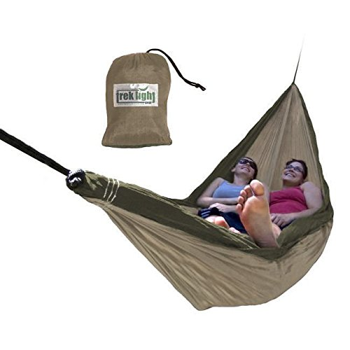 Trek Light Gear Double Hammock - The Original Brand of Best-Selling Lightweight Nylon Hammocks - Extra Wide for the Most Comfort - Use for All Camping, Hiking and Outdoor Adventures (Best Selling)