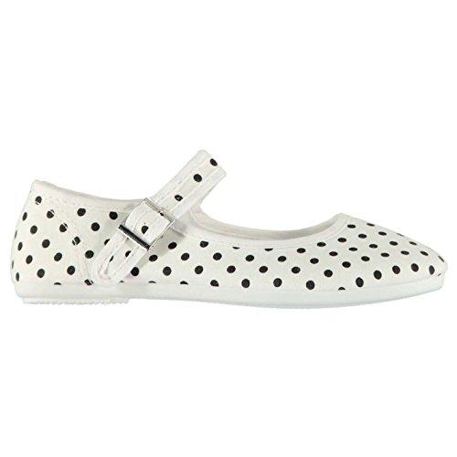 Miss Fiori Kinder Mädchen Mary Jane Canvas Schuhe Schnalle Stoffschuhe Weiß Print