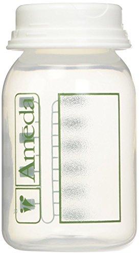 Ameda Milk Storage - 4 Ounce, BPA Free, Polypropylene Milk Storage Bottles, 4 Pack