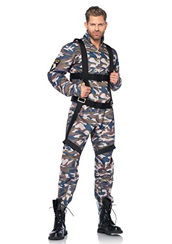 Leg Avenue Men's 2 Piece Paratrooper Costume, Camo, Medium