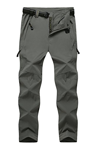 Cranelin Mens Outdoor Hiking Pants Breathable Quick Dry Mountain Pants CHW9917-Light Grey-8XL