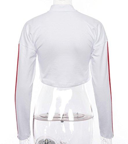 Casual et Blanc Tops Fashion Chemisiers Longues Shirts Patchwork Jumpers Pulls T Manches Hauts Femmes Printemps Sweat Court Shirts Simple Blouses Automne Classique Fashion ECaZwxaBnq