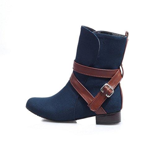 botas clavijas y negrita hembra e conjunto redonda de estudiantes versátil elegante botas cabeza ZQ hembra con corto Blue QXOtoño de Invierno con cilindro wqCv6fAn