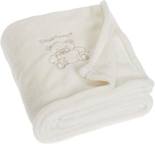 Playshoes Unisex - Baby Set 301700 Fleece - Decke, Babydecke, Kuscheldecke Bär, Maße ca. 75 x 100 cm, Öko-Tex Standard 100, Gr. one size, Beige (natur)