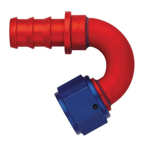 Hose Socketless Fitting - Aeroquip FCM1555 Red and Blue Anodized Aluminum -12AN 150-Degree Socketless Hose Fitting