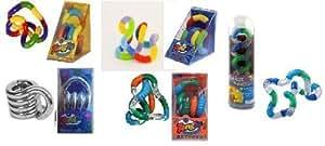 Set of 5 Tangle Jr Fidget Toys: Original Metallic Textured Fuzzy and Relax