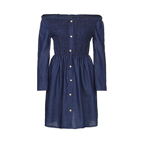 Women Off Shoulder Ruffle Button Strap Belt Long Sleeve Denim Mini Shirt Dress Summer (XL, Blue) by GOTD