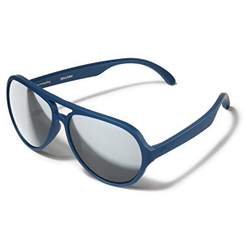 (Distil Union Stay-Put MAGNETIC Aviator Sunglasses with Comfort Flex   Polarized Mirror Lens for Men Women (Marine Blue))