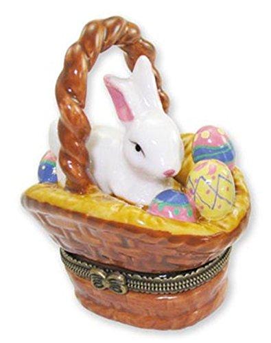Art Gifts Rabbit Easter Bunny Eggs in Basket Trinket Box phb ()