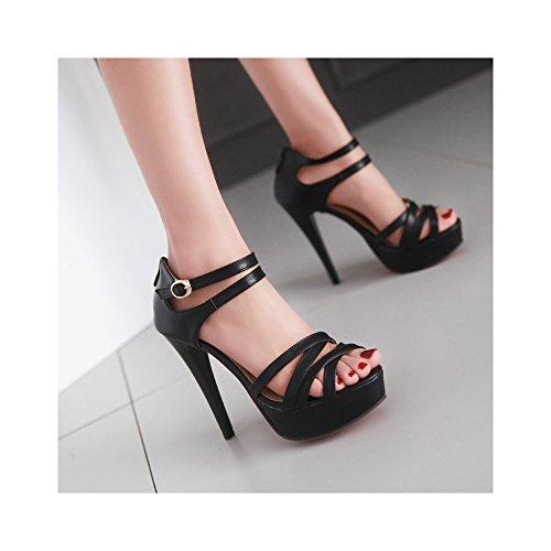 OCHENTA Mujer Zapatos Tacones Estilete de Plataforma Punta Abierta #08Negro