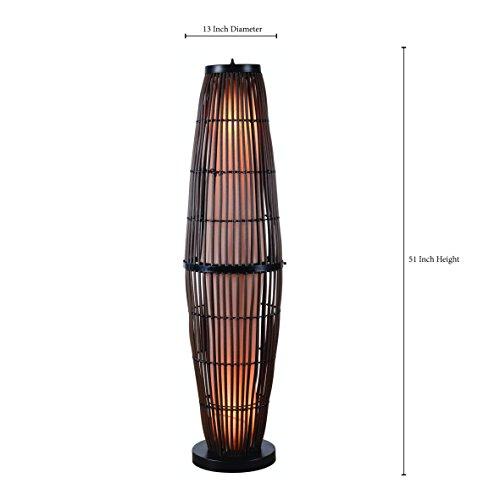 Kenroy Home 32248RAT Biscayne Outdoor Floor Lamp, Rattan Finish with Bronze Accents by Kenroy Home (Image #2)