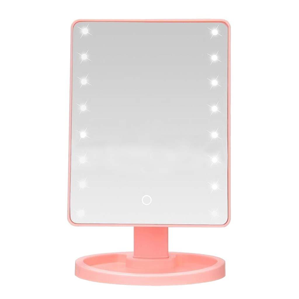 Espejo de maquillaje de almacenamiento de escritorio 16 Luces LED Espejo de maquillaje 360 grados gratis
