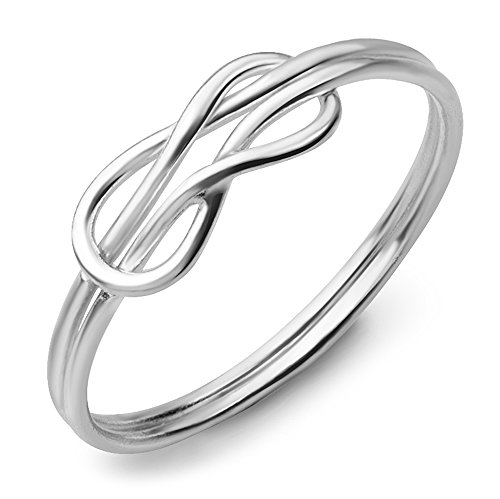 (925 Sterling Silver Double Band Celtic Love Knot Symbol Infinity Ring Jewelry Size 7 )