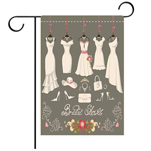 Double Sided Flag Garden Flag Holiday Decoration Bridal Shower Decorations Wedding Dress with Bride Details Bags Florals White Pink and Garden Flags Perfect For Party Yard, Patio, Porch or Veranda ()