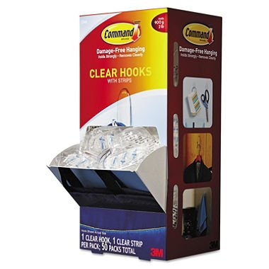Command - Clear Hooks & Strips, Plastic, Medium, 50 Hooks w/50 Adhesive Strips per Carton 17091CLRCABP (DMi CT