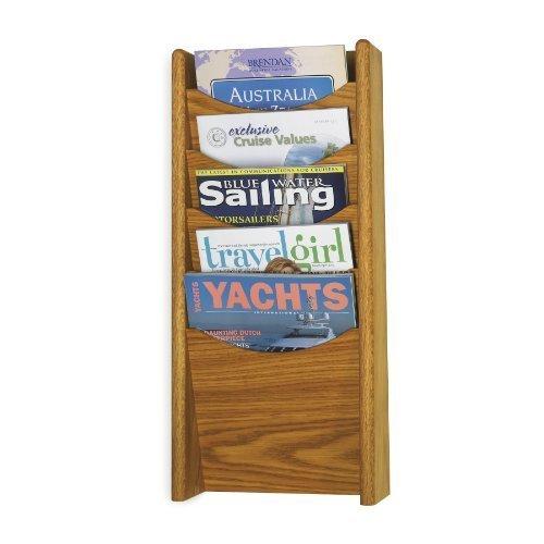 Safco Products 4330MO Wood Magazine Rack, 5 Pocket, Medium Oak -