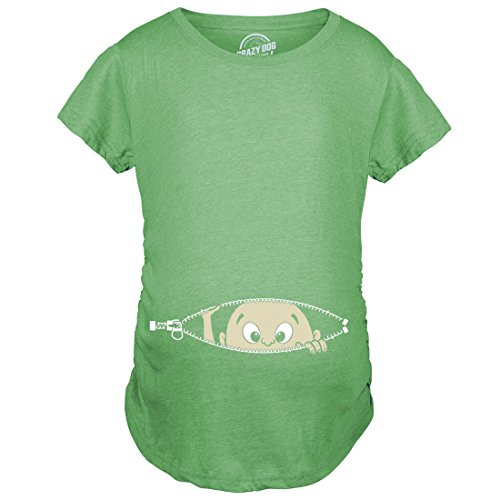 Maternity Baby Peeking T Shirt Funny Pregnancy Tee for Expecting Mothers (Green) - ()