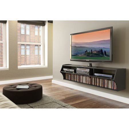 Floating TV Stand for TVs up to 60 Inches, Your Home Entertainment Center Cbe Positioned off the Ground, Eliminates the Need for a Separate Wall-Mount, Sturdy, Espresso + Expert Guide by eCom Rocket
