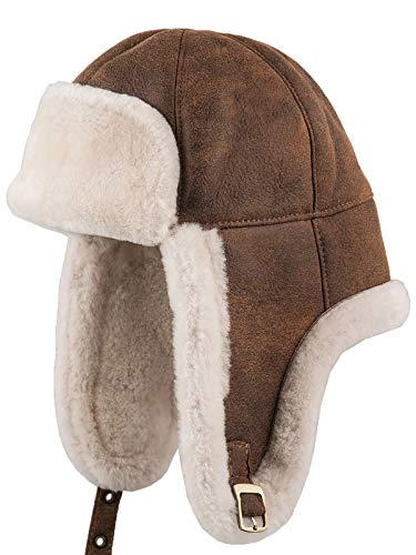 Sterkowski Warm Winter Shearling Leather Trapper Cap US 7 1/2-7 5/8 Cinnamon Brown