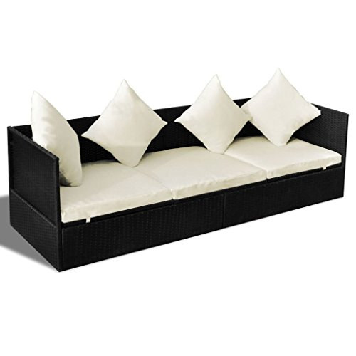 vidaXL Outdoor Sofa 3-Seat Poly Rattan Wicker Black Convertible Chaise Lounge from vidaXL