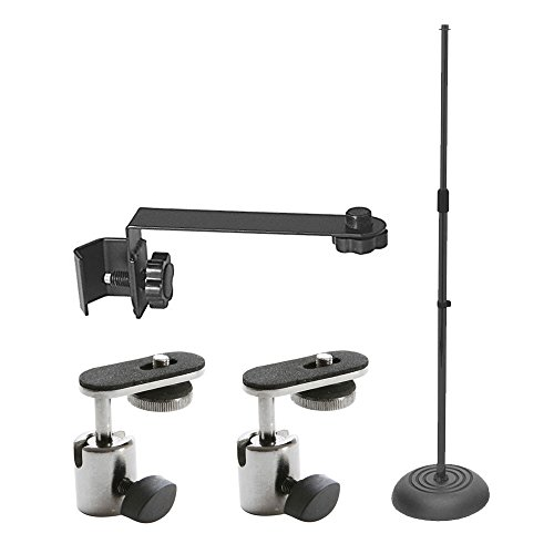 On Stage Round Base Mic Stand with Shaft Pole + On Stage Mic Extension Attachment Bar + On Stage Video Camera / Digital Recorder Adapter + Deluxe Accessory Top Value (Ms7201b Round Base)