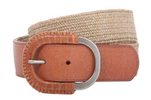 Raffia Woven Belt - Semi-covered Elastic Raffia Woven Genuine Leather Stretch Belt Size: M/L:30